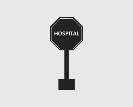 Hospital  Sign of Highway with gray Background. Çizim