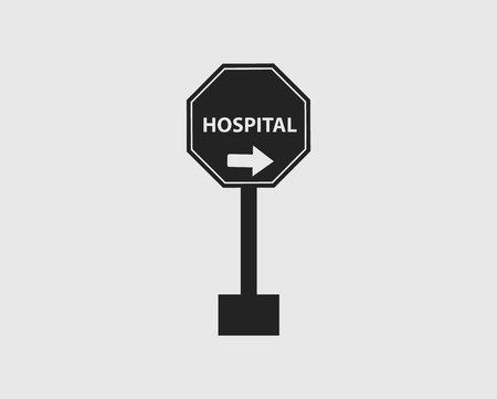 Hospital in Right Sign of Highway with gray Background. Çizim