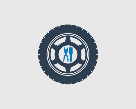 Car service icon on gray background. Vettoriali
