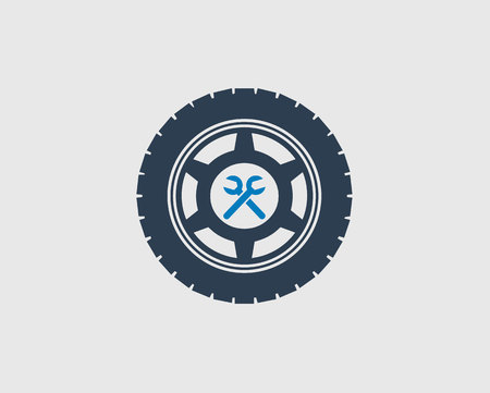 Car Service Icon on gray background