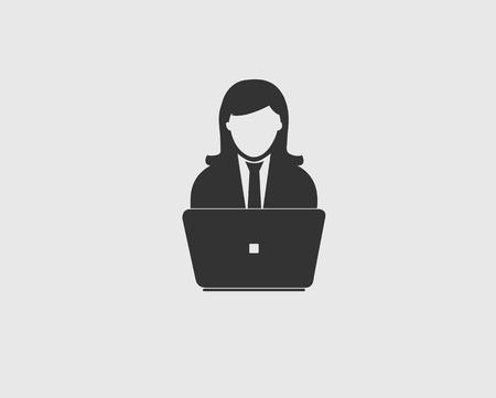 Femme icône derrière son ordinateur Banque d'images - 95059166