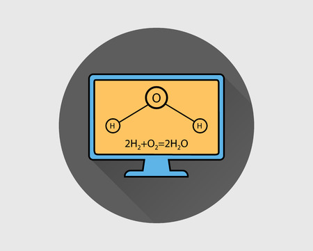 Colorful Chemistry Icon. General Equation and Structural Equation of Water with Computer Screen.