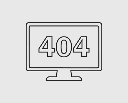 404 error or not found line Icon. In Gray Background.