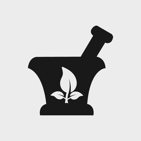 Pharmacy and Medicine Icon. On gray background.