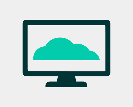 Cloud Icon on Computer Monitor Flat style vector EPS. Illustration
