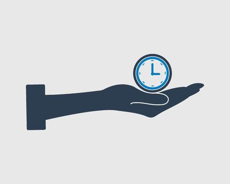 gestion de la gestion vecteur icône. symbole horloge sur le signe de la main