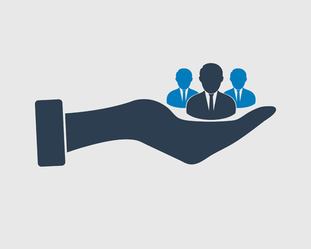 Value-added user icon. Group of people on hand. Ilustração