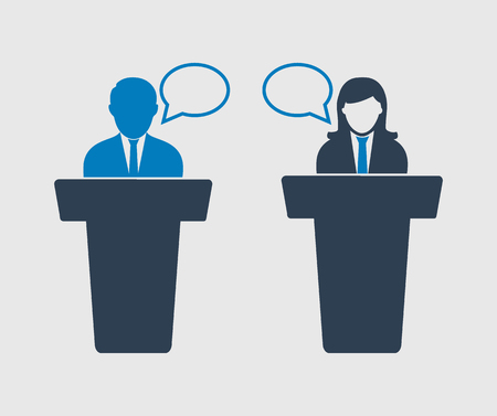 Debate  between male and female Icon on gray background