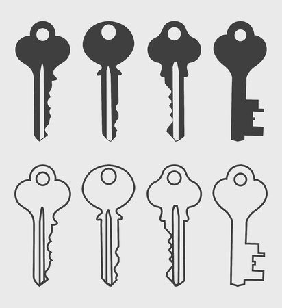 Key icon set on gray background Çizim