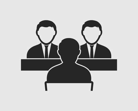 Interview panel icon on gray background