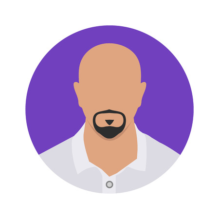 Bald man Avatar icon with beard in his mouth Illustration