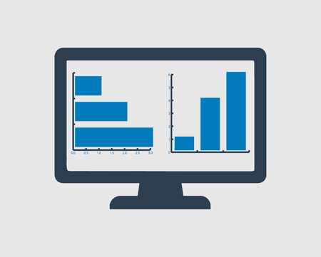 Computer Graph Icon on gray background