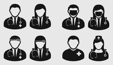 Medical Team Icon on gray background