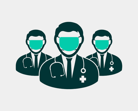 Surgeon team Icon with Mask on mouth with circle shape. Vectores