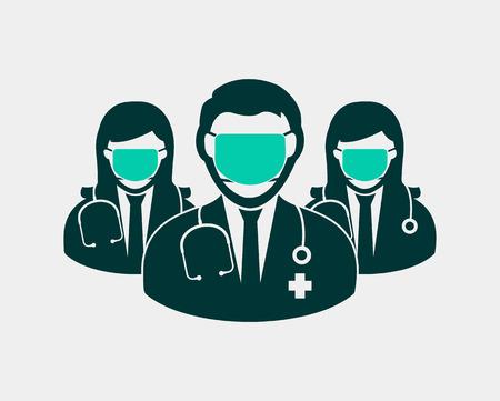 Icono de equipo de cirujano con máscara en la boca con forma de círculo.