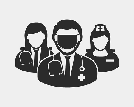 Medical Team Icon. Male and female doctor, nurse and Surgeon symbols on gray background.