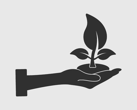 Save Plant Icon on gray background flat style vector