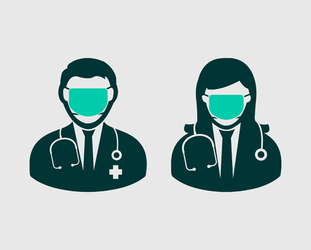 Male and female surgeon icon on gray background. Illustration