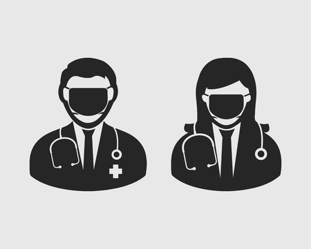 Male and female surgeon icon on gray background. Ilustracja