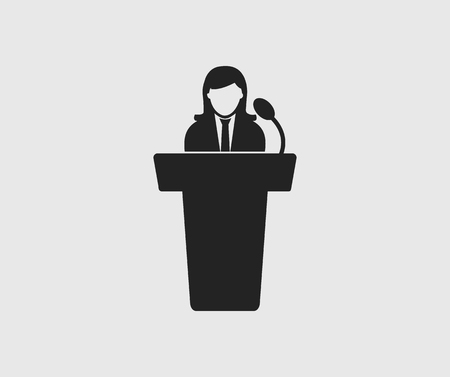 Female Speaker icon on gray background. Flat style Vector EPS.