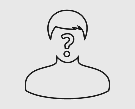 Identify line Icon. Man with Question mark on his mouth. Çizim