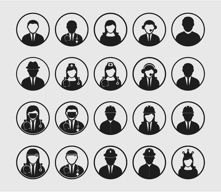 People icon set of different profession with circle shape. Corporate man, Dorctor, Nurse, Engineer etc.