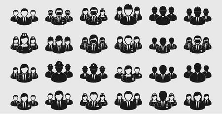 Differnet Teamwork Icon set. Doctor, Engineer, Nurse, Corporate man etc Vettoriali