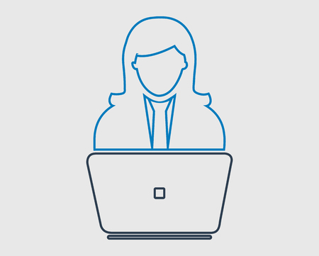 Online service line Icon. Female Icon behind computer