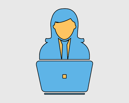 Colorful Online service Icon.  Female Icon behind computer Vectores