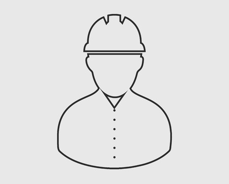 Worker line Icon. Male symbol with helmet on head. 矢量图像