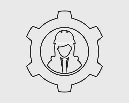 Mechanical Engineer line Icon. Female Symbol with Gear Sign