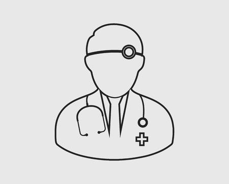 Icône de ligne médicale oto-rhino-laryngologiste féminin.