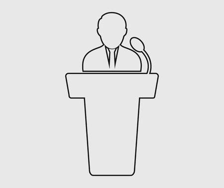 Speaker line icon on gray background. Stock Illustratie