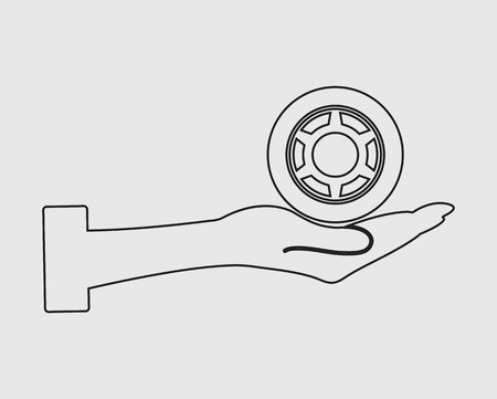Car tear Service line Icon on gray background
