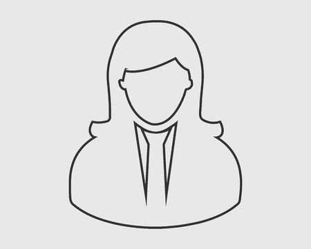 Corporate women line Icon on gray background.