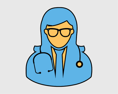 Colorful Female Doctor Icon on gray Background  イラスト・ベクター素材