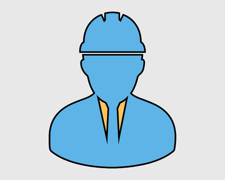 Colorful Engineer Icon . Male symbol with helmet on head.  イラスト・ベクター素材