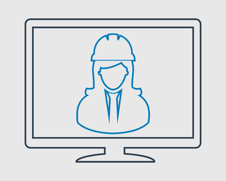 Online Engineering Support line Icon. Female Symbol in Computer Monitor.  イラスト・ベクター素材