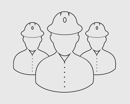 Worker Team line Icon on gray Background.  イラスト・ベクター素材