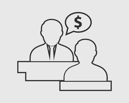 Icona della linea di consulente fiscale su sfondo grigio. Vettoriali