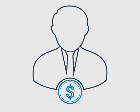 Financial Manager line Icon on gray background Stock Illustratie