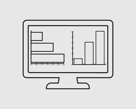 Computer Graph line Icon on gray background