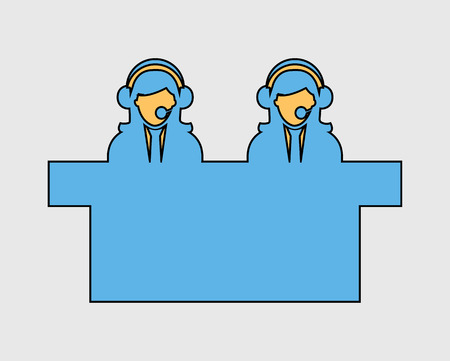 Colorful Customer service icon on gray Background  イラスト・ベクター素材
