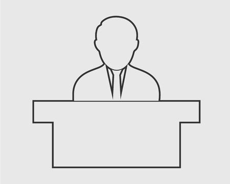 Reception line Icon. Male Symbol behind the desk.  イラスト・ベクター素材