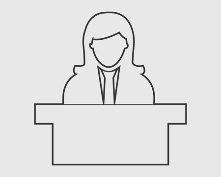 Reception line Icon. Female Symbol behind the desk.