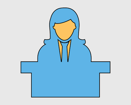Colorful Reception Icon. Female Symbol behind the desk.