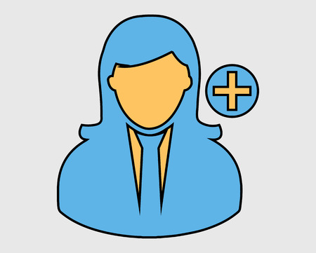 Colorful Add Users Icon. Female avatar on gray Background. Stock Illustratie