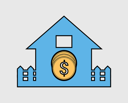 Colorful Home loan icon. Coin symbol with house sign.