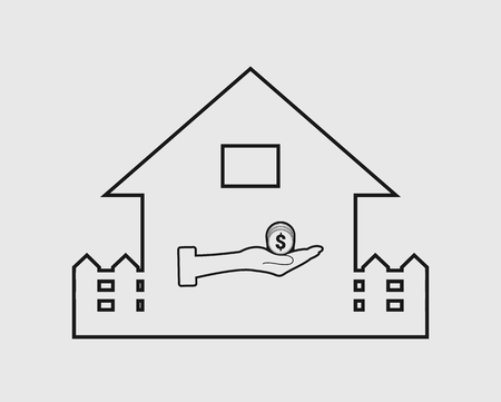 Home loan line icon. Coin symbol with house sign.