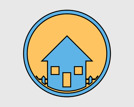 Colorful House Icon on gray Background. Stock Illustratie